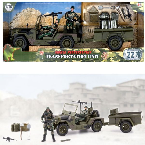 World Peacekeepers Military Transportation Unit Vehicle Army Toy with 2 figs